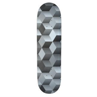 Monochrome 3D Cube Design Skate Deck