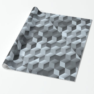 Monochrome 3D Cube Design Wrapping Paper