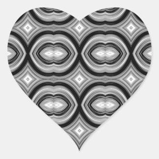 Monochrome Abstract Pattern. Heart Sticker