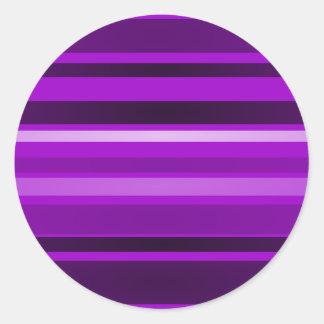 Monochrome and Purple Stripes Round Stickers