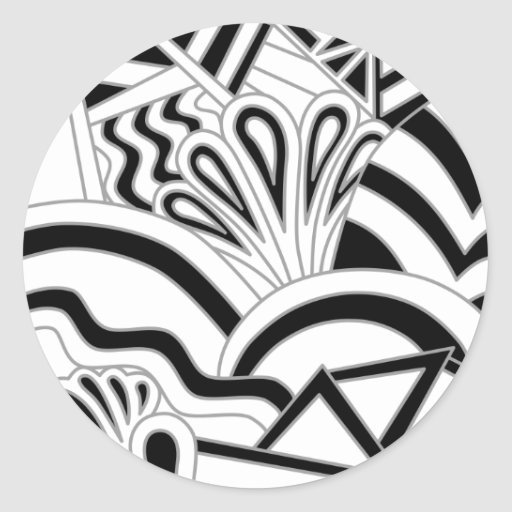 Monochrome Art Deco Design. Round Stickers