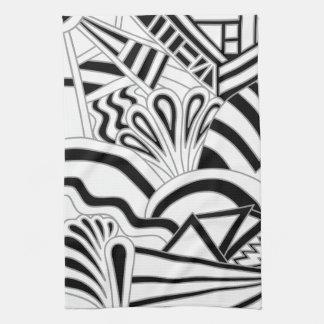Monochrome Art Deco Design. Tea Towel