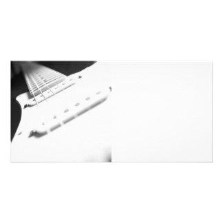 Monochrome B&W Electric Guitar Close-Up 2 Personalized Photo Card
