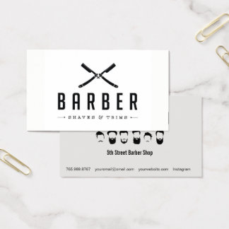 Monochrome Barber Shop Cut & Shave Business Card