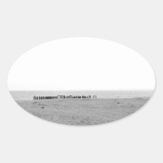 Monochrome Beach Oval Sticker