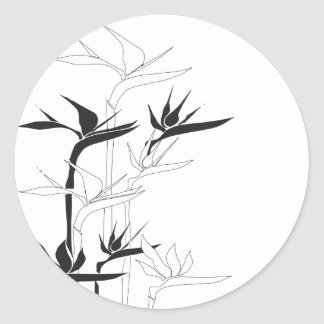 Monochrome Bird of Paradise Round Sticker