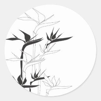 Monochrome Bird of Paradise Round Sticker