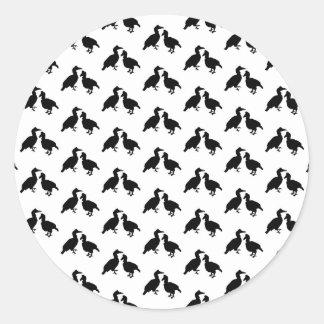 Monochrome Bird Pattern. Round Sticker