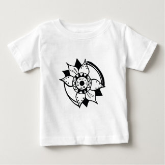 Monochrome Black and White Flower Drawing Baby T-Shirt