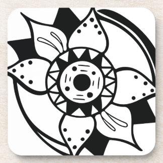 Monochrome Black and White Flower Drawing Coaster