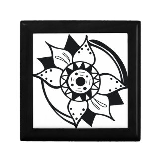 Monochrome Black and White Flower Drawing Gift Box