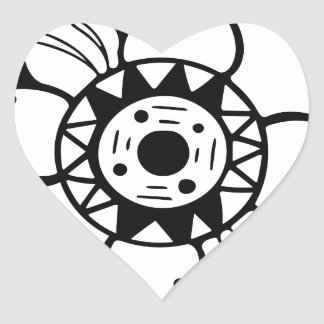 Monochrome Black and White Flower Drawing Heart Sticker