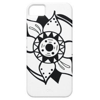 Monochrome Black and White Flower Drawing iPhone 5 Case