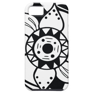 Monochrome Black and White Flower Drawing iPhone 5 Cover