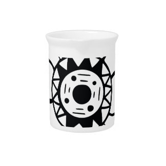 Monochrome Black and White Flower Drawing Pitcher