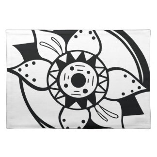 Monochrome Black and White Flower Drawing Placemat