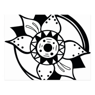 Monochrome Black and White Flower Drawing Postcard