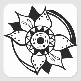 Monochrome Black and White Flower Drawing Square Sticker
