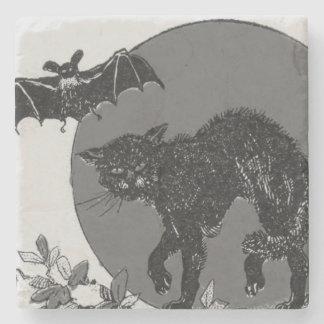 Monochrome Black Cat Bat Full Moon Stone Coaster
