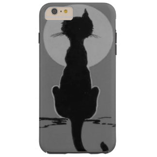 Monochrome Black Cat Full Moon Tough iPhone 6 Plus Case