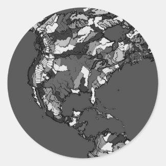 monochrome black grey map round sticker