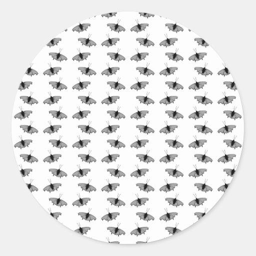 Monochrome Butterfly Pattern. Round Sticker