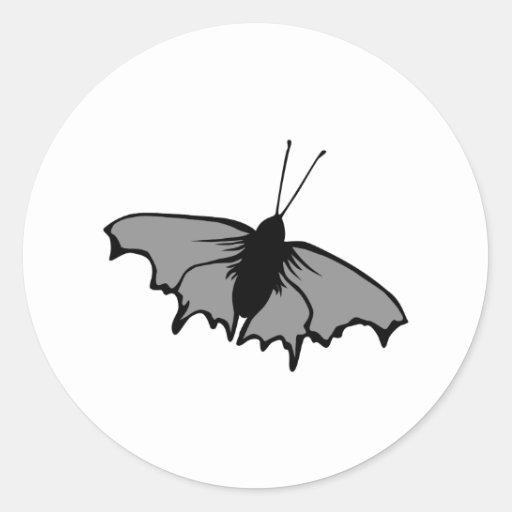 Monochrome Butterfly. Round Sticker