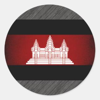 Monochrome Cambodia Flag Round Stickers