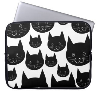 Monochrome Cat Design. Laptop Sleeve
