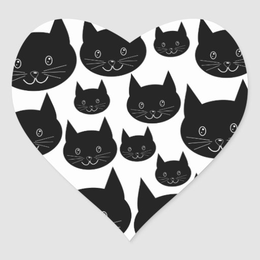 Monochrome Cat Design. Heart Sticker