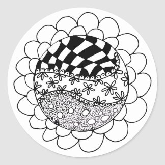 Monochrome Circle Hand Drawn Doodle Round Sticker