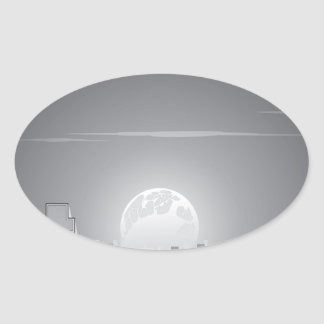 Monochrome City Moonrise Oval Sticker
