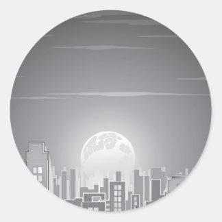 Monochrome City Moonrise Round Sticker