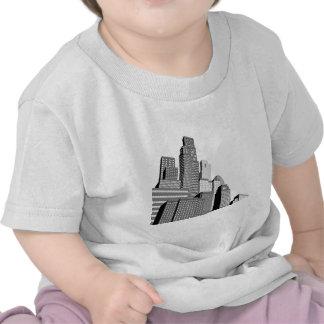 Monochrome city skyscrapers t-shirts