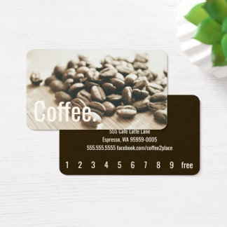 Monochrome Coffee Beans Simple Oswald Punch-Card Business Card