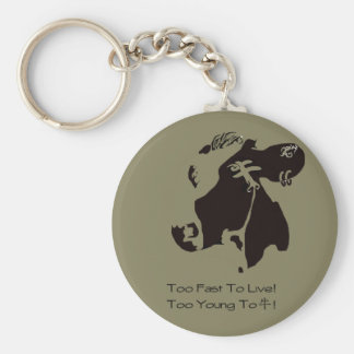 Monochrome cow can key holder basic round button key ring