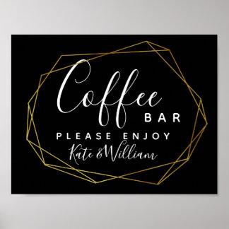 monochrome crystal geo Coffee bar station sign