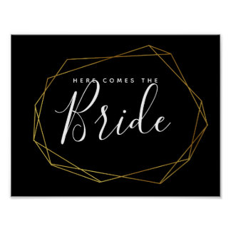 monochrome crystal geometric here comes the bride poster