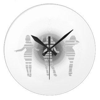 Monochrome dancing girls large clock