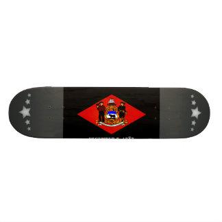 Monochrome Delaware Flag Custom Skate Board