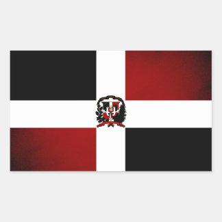 Monochrome Dominican Republic Flag Rectangular Sticker