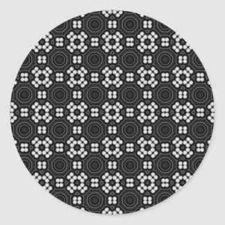 Monochrome Dots Pattern Round Sticker