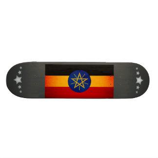 Monochrome Ethiopia Flag Custom Skate Board