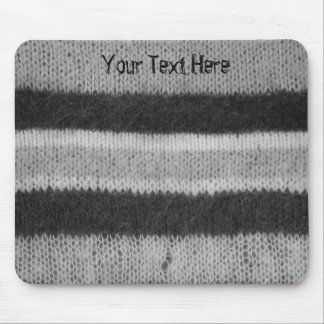 monochrome faux knitted stripes retro fun design mouse pad