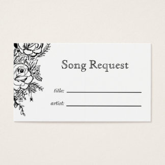 Monochrome floral tattoo Song request card