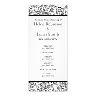 Monochrome Floral tattoo wedding program Rack Card