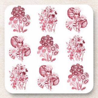 Monochrome flowers in red beverage coasters