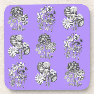Monochrome flowers on lilac background drink coasters