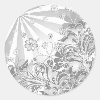 monochrome flowers round sticker
