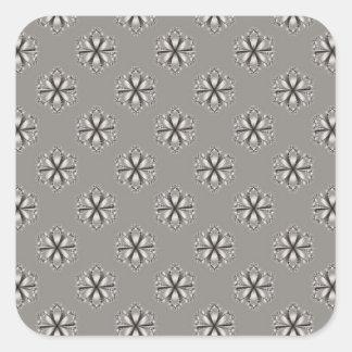 Monochrome Flowers Square Sticker